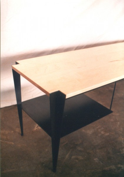 Entry Foyer Bench - maple and blackened steel