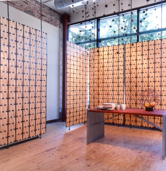Room divider screens - woven thin cut maple and steel
